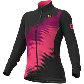 Alé Cycling Solid Pulse Maglia jersey a maniche lunghe Donna, black-prune-fluo pink